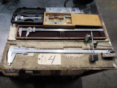 Mitutoyo 24'' Vernier Caliper, Starrett 24'' Caliper, Mitutoyo 6'' Caliper, 4''-5'' Micrometer