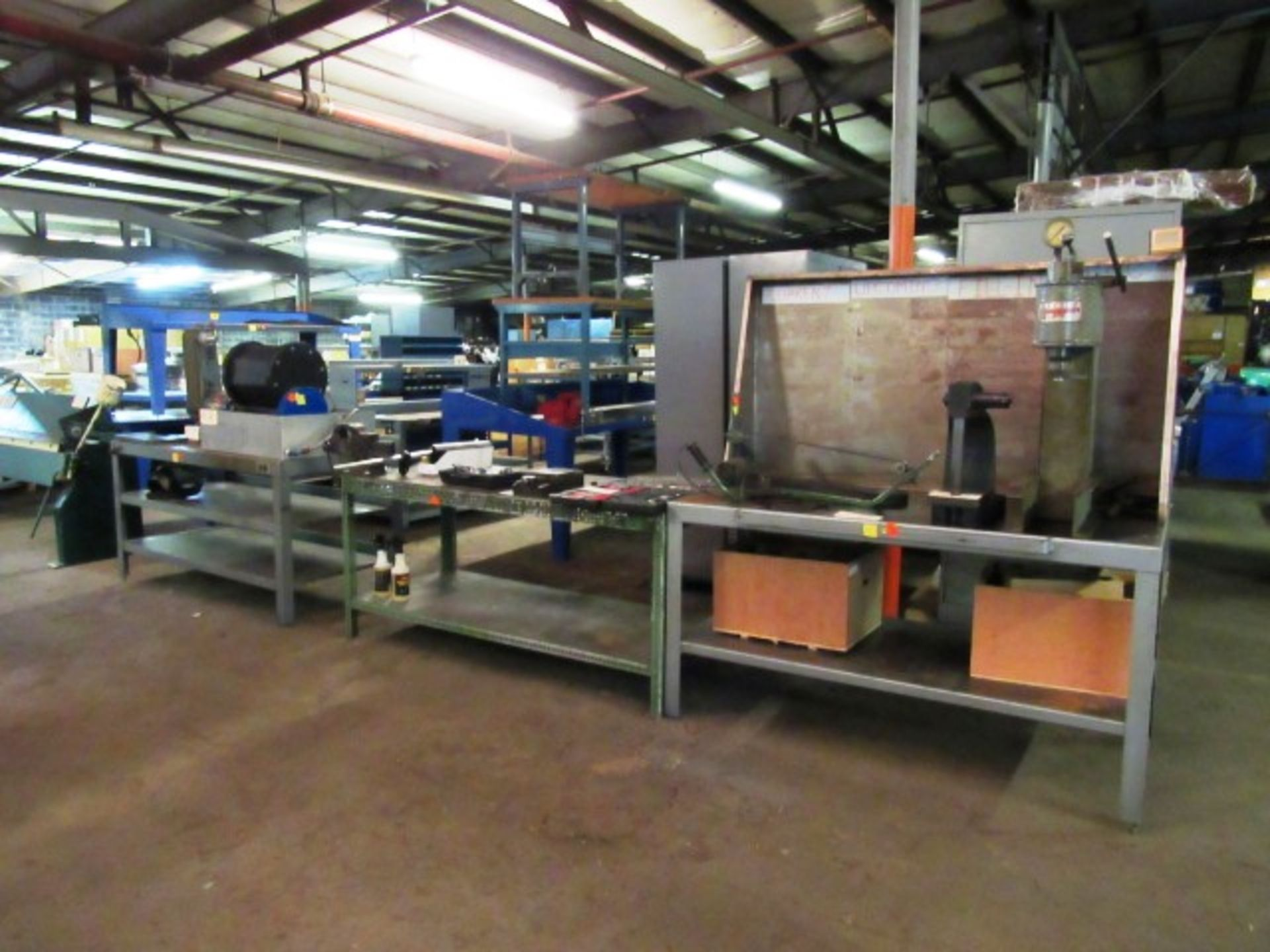 Lot 12 - (3) Workbenches & Vise