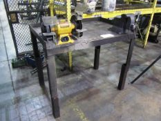 Steel Bench with Dewalt 8'' Double End Bench Grinder & 6'' Vise