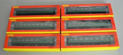 OO Gauge. 6 boxed Hornby Maunsell Corridor Coaches in BR Southern Region green, R4302A, 4303A,