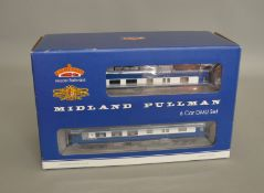 OO Gauge. A boxed Bachmann 31-225DC DCC On Board BR Midland Pullman 6 unit Set in Nanking Blue