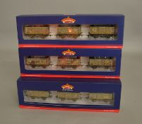 OO Gauge. 3 boxed Bachmann Wagon sets each containing heavily weathered BR grey Mineral wagons,