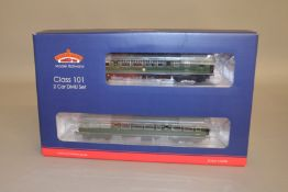 OO Gauge. A boxed Bachmann 32-286 (DCC Ready 21 Pin) MCW Class 101 2 car DMU Set in BR green with