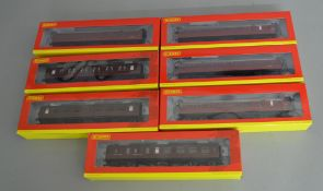 OO Gauge. 7 boxed Hornby BR maroon (ex LMS) Coaches including three lined Period 3 Corridor Coaches,