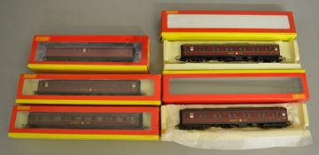 OO Gauge. 3 boxed Hornby BR Mark 1 lined maroon Sleeping Cars R4134B, 4202 and R4202A  together with