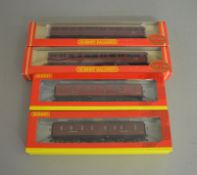 OO Gauge. 4 boxed Hornby Coaches of various types including BR (ex LMS) R4237 Full Brake and R4450