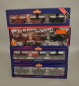 OO Gauge. 4 boxed Bachmann Wagon sets each containing three weathered 14T Tank wagons, 37-666, 37-