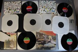Led Zeppelin LP vinyl records including a demo box set DRGM 505 of 4 LPs from DRGM Enterprises (LZ