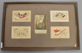 A set of 4 WW1 era silk postcards with a WW1 era photograph set into a frame (AF)