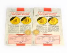 Two MDM H.M Queen Elizabeth The Queen Mother gold $50 coins commemorating 'The Wedding Of