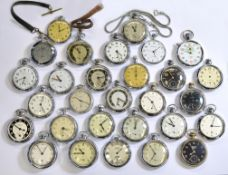A boxed quantity of approx twenty six chrome cased pocket watches/stop watches, Ingersoll & Smiths