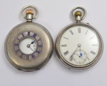 Two silver top-wind pocket watches, both A/F service required