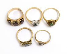 Five 9ct H/M CZ set rings, approx gross weight 12.5gms