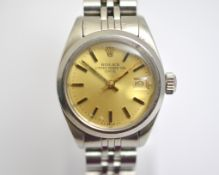 ROLEX - A ladies stainless steel Automatic Rolex Oyster Perpetual Date wristwatch, model 6916, dated