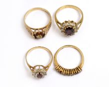 Four CZ set rings, three H/M 9ct, approx gross weight 10.7gms