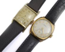 Two mechanical gold plated gents wristwatches, a Rotary Supersports on a Hirsch leather strap & a