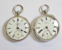 Two silver key-wind pocket watches, a Waltham H/M Birmingham 1876 & a H.Samuel H/M Chester 1883,