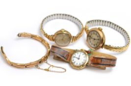 Three mechanical 9ct H/M wristwatches (one working), on expandable metal (2) & leather (1) straps,