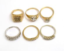 Six 9ct H/M CZ set rings, approx gross weight 15.1gms