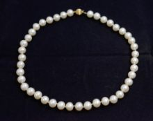 A cultured pearl necklace, clasp stamped 585, pearls approx 9mm, approx length 16inch