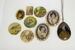 A silver mounted butterfly wing pendant & chain, together with two hand-painted brooches & six