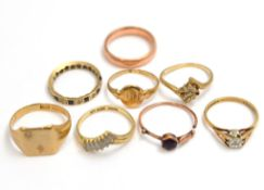 Eight 9ct rings, most H/M, some A/F, approx gross weight 18.5gms