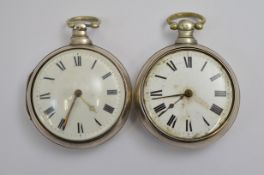 Two silver pair cased pocket watches, both A/F service required
