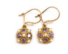 A pair of 9ct H/M amethyst & pearl drop earrings, approx 2gms