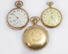 Three gold plated top-wind pocket watches, one signed by Set Thomas, working