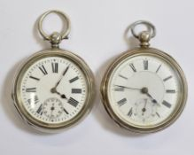 Two silver key-wind Victorian pocket watches, both with clean white enamel dials, both working