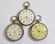 Three silver key-wind pocket watches all with damage to dials, all working