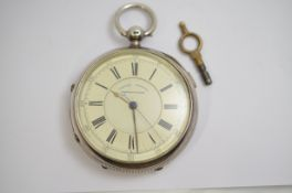 A Victorian large silver cased centre seconds chronograph key-wind pocket watch H/M Chester 1898,