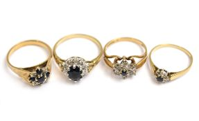 Four 9ct H/M sapphire & diamond set rings, approx gross weight 11.4gms