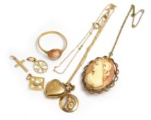 A small quantity of 9ct some H/M to include cameo ring, locket & chain etc, approx gross weight