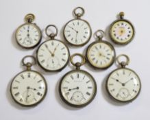 Eight silver non-working key-wind pocket watches, for spares or repair