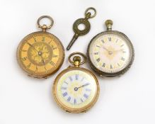Three decorated fob watches, 9ct, 18ct & silver, two with clean white enamel dials, all non-working