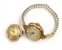 Two 9ct H/M wristwatches, both non-working for spares & repairs