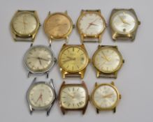 Ten gold plated watch heads, three automatic & seven mechanical, to include Cyma, Butex, Ingersoll