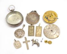 A bagged quantity of assorted silver to include a mounted 1887 crown, pendants, pocket watch case