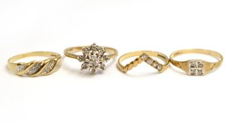 Four 9ct H/M diamond set rings, approx gross weight 5gms