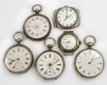 A bagged quantity of four silver key-wind fob watches (one working) together with two silver