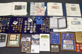 A boxed quantity of modern coins & medallions, some silver, including coin covers, two Executive