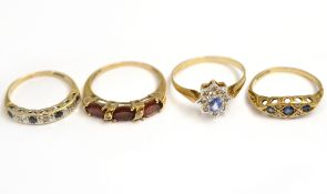 Three 9ct H/M gem set diamond rings approx gross weight 4.2gms, together with a ring stamped 10k