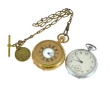 A gold plated & metal pocket watches, both non-working, for parts & spares