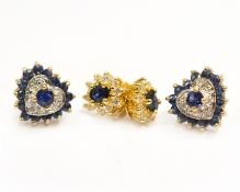 A pair of 9ct sapphire & diamond earrings (lacking butterfly's) approx 2gms, together with a pair of