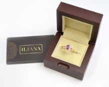 An Iliana 18ct H/M purple sapphire & diamond ring, with certificate, single oval natural AAAA purple
