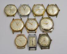 Ten mechanical watch heads to include Avia, Medana, Precimax etc, most working, some A/F