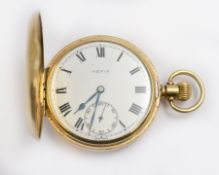 A 9ct 'Hefik' top-wind pocket watch H/M Birmingham 1954, 9ct engraved dust case, with a clean