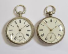 Two silver key-wind pocket watches, one with a small hairline fracture to white enamel dial, both