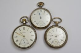 Three silver top-wind pocket watches, all A/F service required